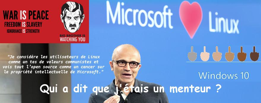 Microsoft aime Linux ! Oui, quand les poules auront des dents, bande de niais !