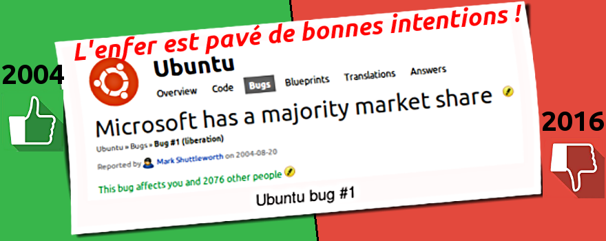"Le Bug #1 publié par M. Shuttleworth sur LaunchPad.net le 20/08/2004 commençait par : ""Microsoft has a majority market share in the new desktop PC marketplace. This is a bug which Ubuntu and other projects are meant to fix. As the philosophy of the Ubuntu Project states, ""Our work is driven by a belief that software should be free and accessible to all."""""