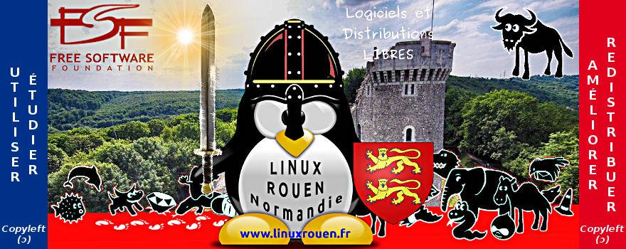 LINUX ♥ ROUEN ♥ Normandie | Notre mascotte devant le Château de Robert le Diable avec toute la troupe des Logiciels Libres