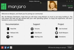 Manjaro 0.8.13 Rolling Release | Welcome pour bien commencer