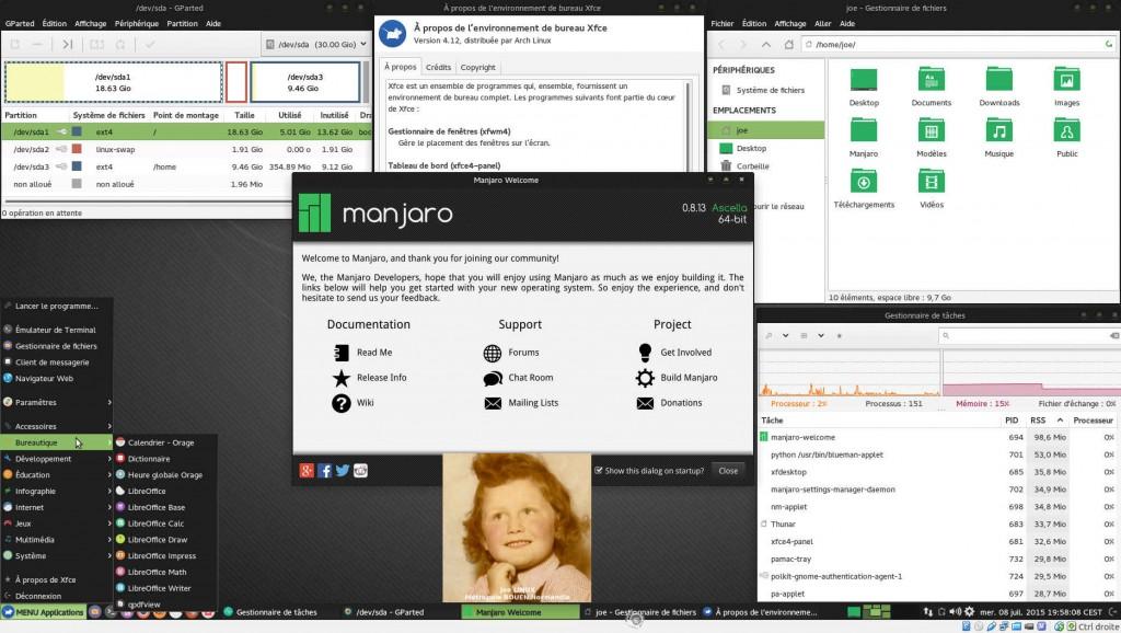 Manjaro 0.8.13 Rolling Release | Bureau XFCE 4.12 | MV sous VirtualBox 4.3.28
