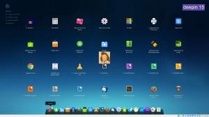 DEEPIN 15 : DDE (Deepin Desktop Environment) avec son Dock et les Applications affichées avec le Lanceur