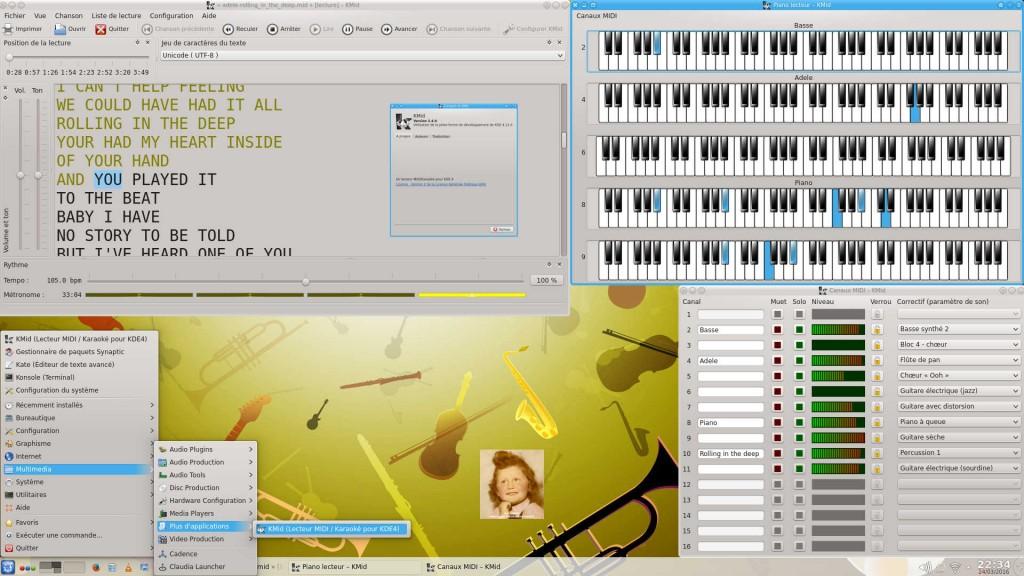 KXStudio 14.04 : KMid 2.4 – Lecteur libre MIDI/Karaoké | Fenêtres Principale + Piano virtuel + Canaux MIDI