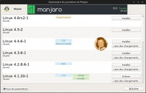 Manjaro 15.12 : Mise à niveau du Noyau (kernel) Linux44 LTS 4.4.6-1