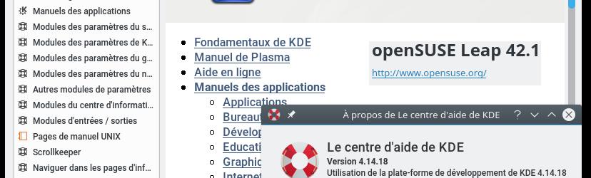 openSUSE Leap 42.1 : Bureau KDE Plasma 5.5.5 – Centre d'aide KDE mais 4.14.18 !