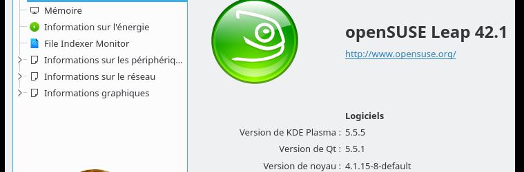 openSUSE Leap 42.1 : Bureau KDE Plasma 5.5.5 - Informations système