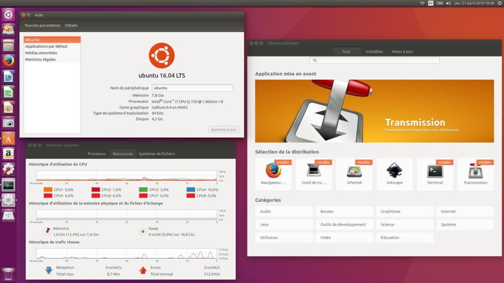 Ubuntu 16.04 LTS : Bureau Unity 7.4 - À propos de ce PC - Moniteur système - Ubuntu Software 3.20.1
