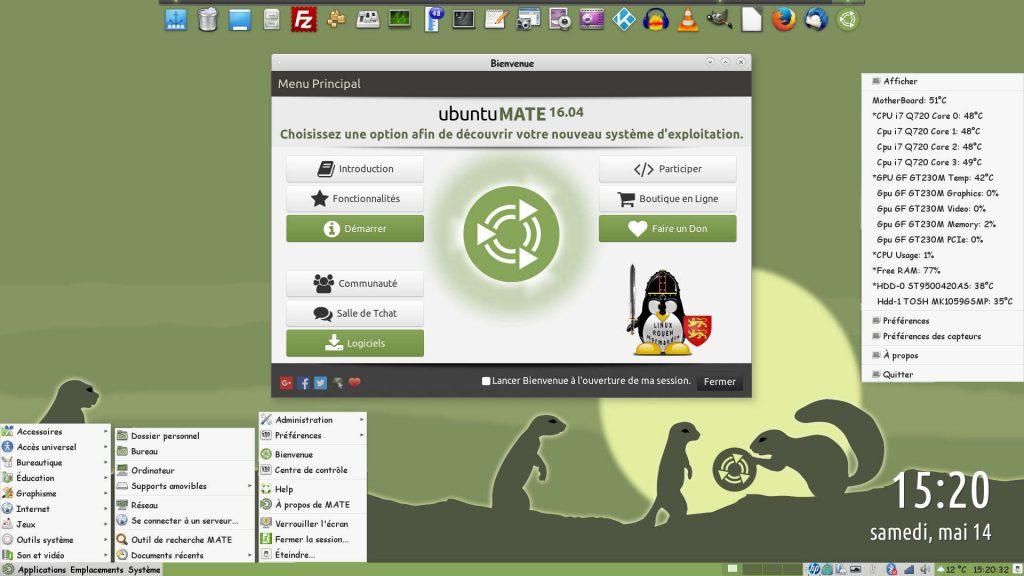 Ubuntu MATE 16.04 LTS : Bureau MATE 1.12.1 avec Tableau de bord et ses 3 Menus (en bas), Fenêtre Bienvenue, dock Plank (en haut) et Psensor (à droite)