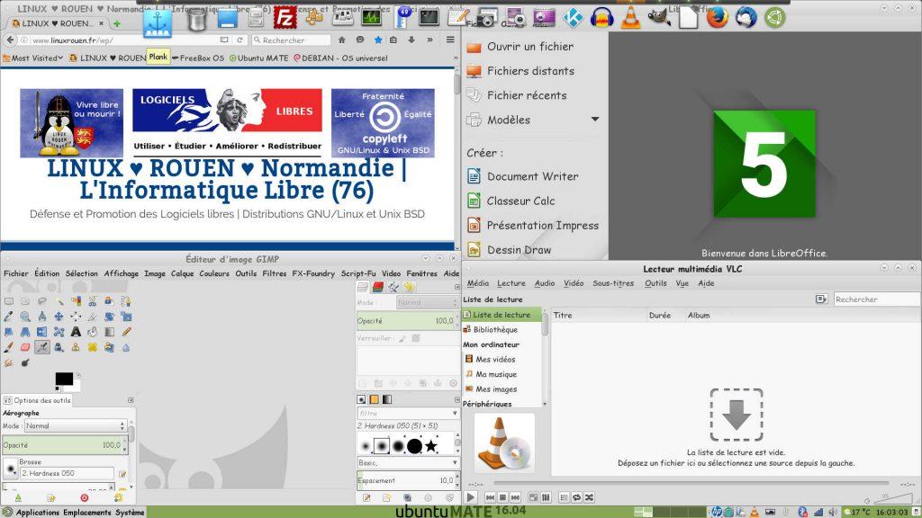 Ubuntu MATE 16.04 LTS : Firefox, LibreOffice, GIMP et VLC avec Plank