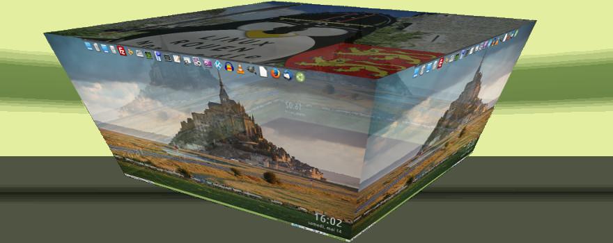 Ubuntu MATE 16.04 LTS : Changement - rotation des bureaux avec les fonctions Cubes de Compiz
