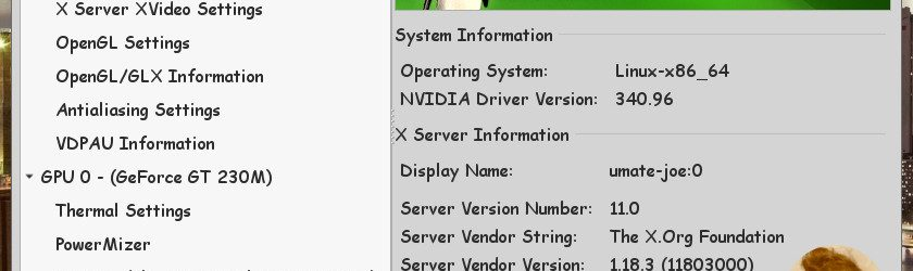 Ubuntu MATE 16.04 LTS : NVIDIA 340.96 X Server Settings