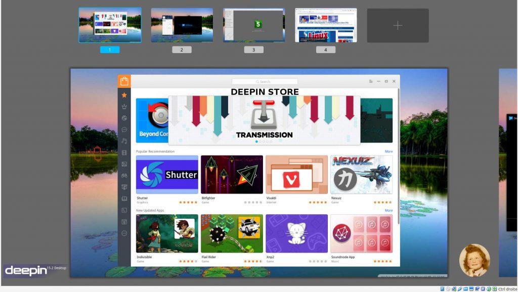 Deepin 15.2 : Vue Multitâche (4 bureaux actifs)