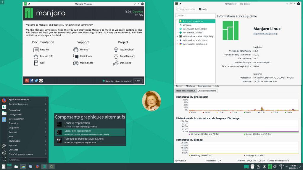 Manjaro Linux 16.06 : Bureau KDE Plasma 5.6.4 avec Menu des applications, Manjaro Welcome, Info Center et Surveillance du système