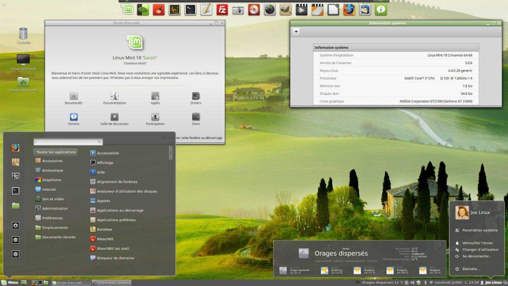 Linux MINT 18.0 : Bureau Cinnamon personnalisé - Thème, Fond d'écran et dock Plank