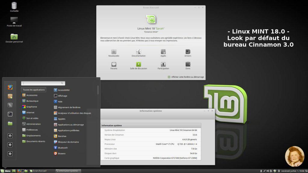 Linux MINT 18.0 : Bureau Cinnamon avec thème Mint-X-Dark par défaut