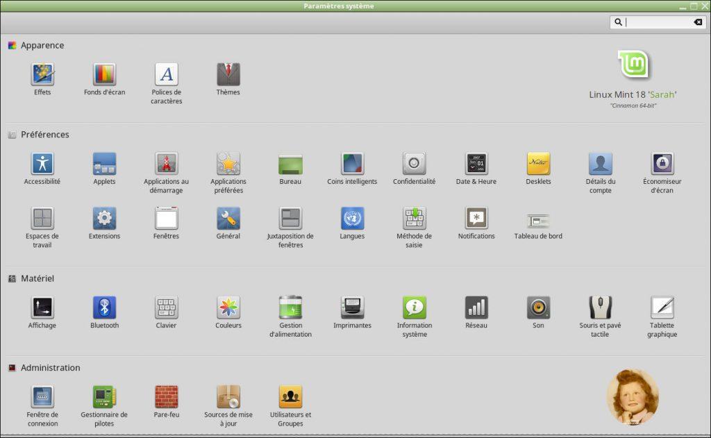 Linux MINT 18.0 Cinnamon : Paramètres Système
