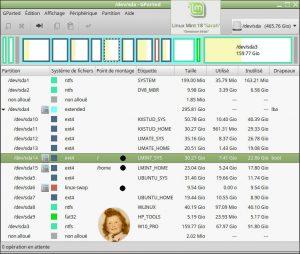 Linux MINT 18.0 : GParted 0.25 - Partitionnement MBR du 1er disque dur (sda) avec 5 systèmes d'exploitation (4 GNU/Linux + 1 Windows)