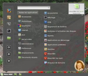 Linux MINT 18 : Le Menu de Cinnamon 3, simple et efficace !