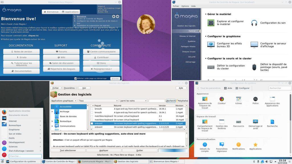 """Mageia 6 """"sta1"""" : Bureau KDE Plasma 5.6 Live avec quelques utilitaires clés"""