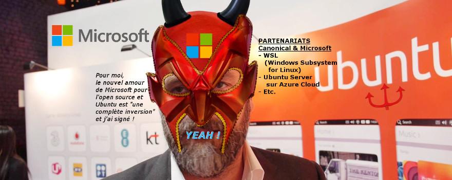 Mark Shuttleworth - le fondateur de Canonical Ltd., l'homme qui murmurait à l'oreille Satya Nadella, le PDG de Microsoft Corporation, l'un des grands gourous de l'infâme secte technologique GAFAM - éditeur de logiciels et services propriétaires privateurs de libertés. Vade retro Satanas !