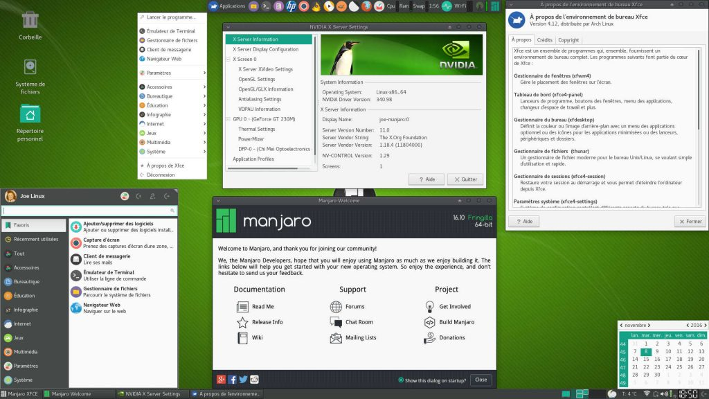 MANJARO Linux 16.10 - Bureau XFCE 4.12 : 2 Tableaux de bord, Menus Whisker et Applications, nVidia X Server Settings, Manjaro Welcome, XFCE Aide et Calendrier