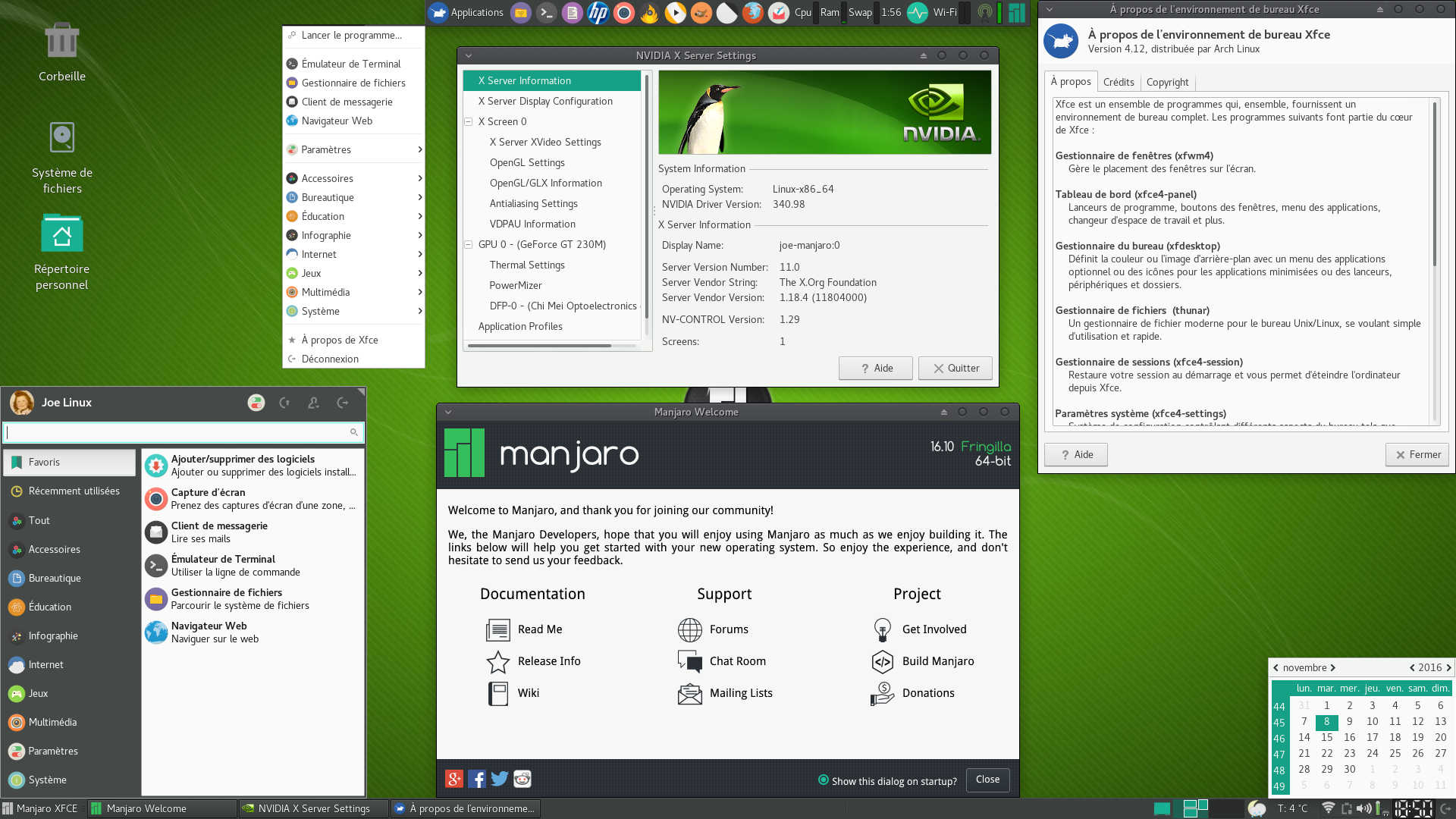 Manjaro Linux 16 10 Fringilla | Bureau léger XFCE 4 12