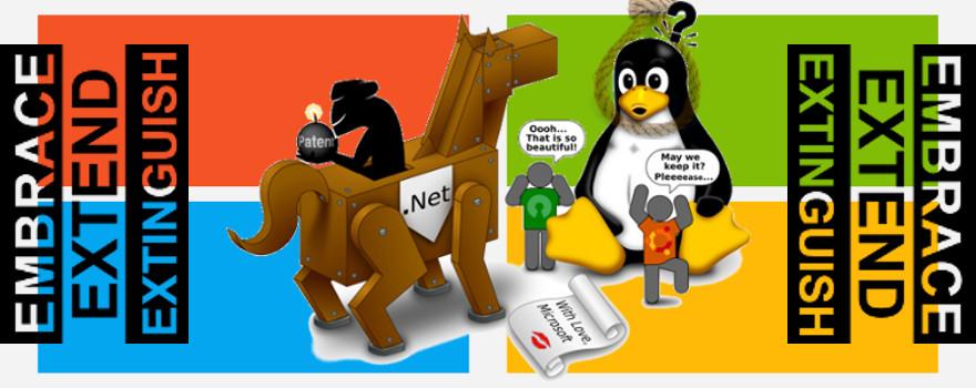 """Microsoft Corporation : sa stratégie du cheval de Troie - """"Adopter, étendre et étouffer"""" ou """"Adopter, étendre et exterminer"""" !"""
