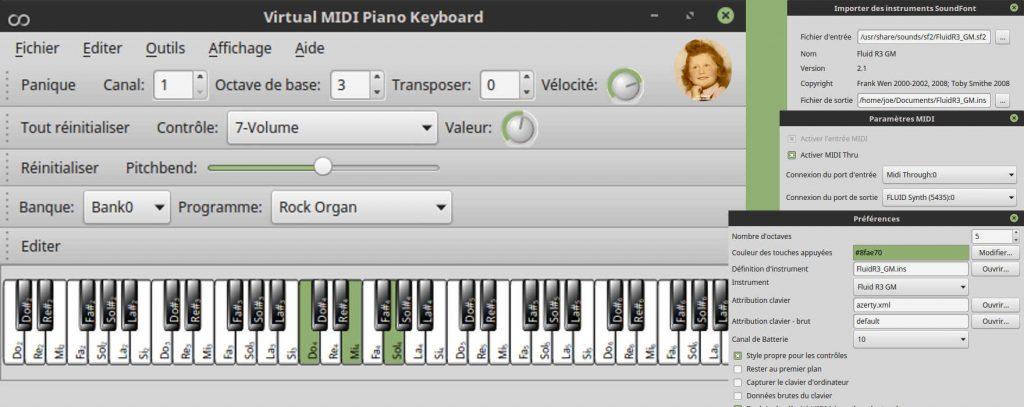 VMPK (Virtual MIDI Piano Keyboard) : un générateur et récepteur d'événements MIDI pour commander un synthétiseur MIDI (matériel ou logiciel, interne ou externe).