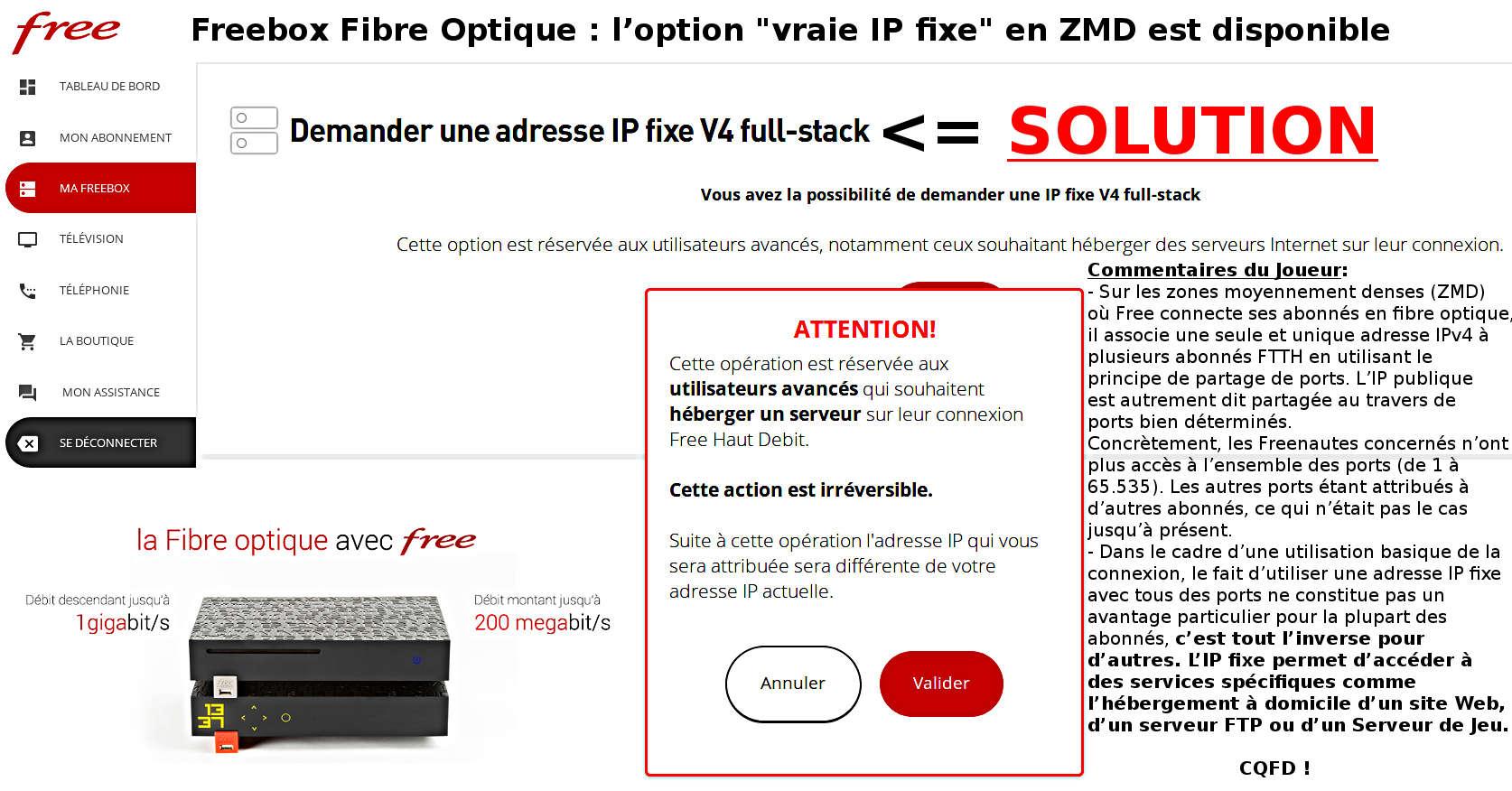 faire une demande de fibre optique free